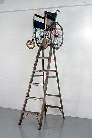 Neo-conceptual art - John LeKay Untitled, 1991, ladder and wheelchair