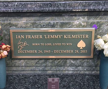 Lemmy's grave at Forest Lawn, Hollywood Lemmy's Grave.jpg