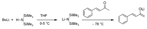 Enolaatvorming met lithiumbis(trimethylsilyl)amide