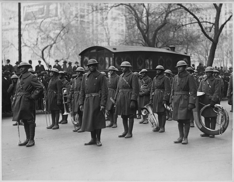 Lieutenant Jimmie (James Reese) Europe and his famous jazz band of the 369th (African American) Infa . . . - NARA - 533521