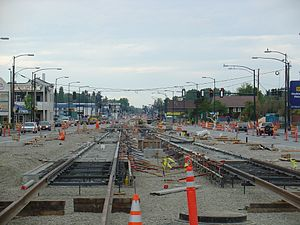 Othello station - Light rail construction at Martin Luther King Jr. Way and Othello Street in April 2007