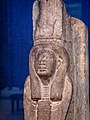 Limestone statue of a female serpent deity possibly from Thebes 664-610 BCE (Reign of Psammetichus I Dynasty 26) Penn Museum 02.jpg