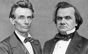 Lincoln–Douglas debates - Composite image from portrait photographs of Abraham Lincoln (1860) and Stephen A. Douglas (1859)