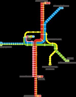 Trams in Darmstadt - Darmstadt tramway network (2010).