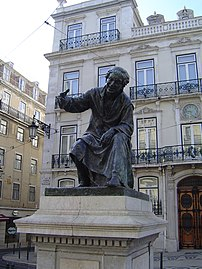 Statue of poet António Ribeiro in the Chiado S...