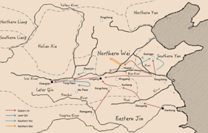Liu Yu's expeditions - Map of Liu Yu's expeditions