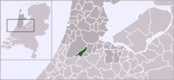 Highlighted position of Aalsmeer in a municipal map of North Holland
