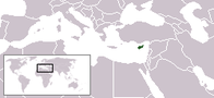 A map showing the location of Cyprus