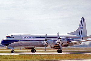 Avianca El Salvador - TACA Air Cargo Lockheed L-188AF freighter at Miami in 1978