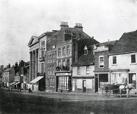 London Street, Reading, c. 1845, a modern positive from Talbot's original calotype negative London Street, Reading, c. 1845.jpg