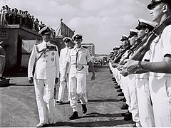 Lord Mountbatten inspects the honour guards at Tel Aviv Port.jpg