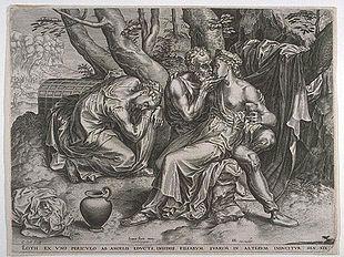 Lot e le figlie, incisione di Cornelis Cort. Sullo sfondo, Sodoma in fiamme
