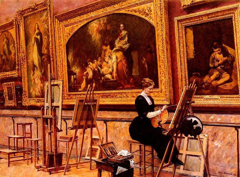 File:Louis Beroud - peintre copiant un Murillo Au Musee Du Louvre.jpg