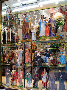 The streets near the Grotto are lined with shops selling objects of popular piety.
