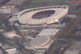Porsche-Arena - Image: Luftbild Daimlerstadion Schleyerhalle Porsche Arena