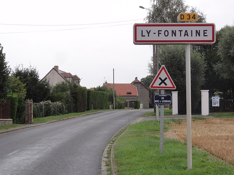 Ly-Fontaine (Aisne) city limit sign