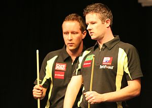 2008 Mosconi Cup - Image: MC2008 M07 047 Mika Immonen und Mark Gray