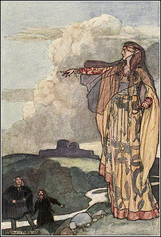 "Macha - ""Macha Curses the Men of Ulster"", Stephen Reid's illustration from Eleanor Hull's The Boys' Cuchulainn (1904)"