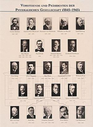 Deutsche Physikalische Gesellschaft - Presidents of Deutsche Physikalische Gesellschaft from 1845 to 1945