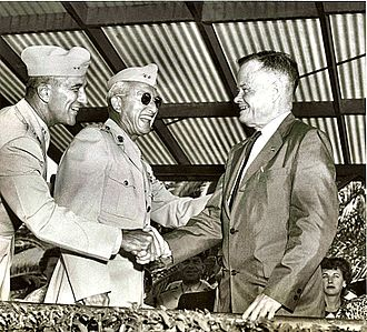 Herman Nickerson Jr. - Nickerson and James M. Masters (center) welcome then-retired Chesty Puller to Camp Pendleton in 1962.