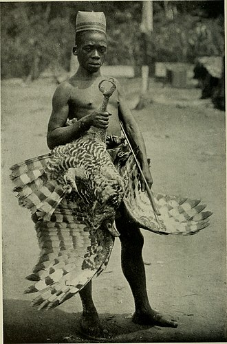 Makere people - A Makere man with an eagle in the early 1900s