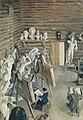 """Эмилия Шанкс за работой на картине 2.  """"Скульптурная мастерская """".  С.В. Малютина."""