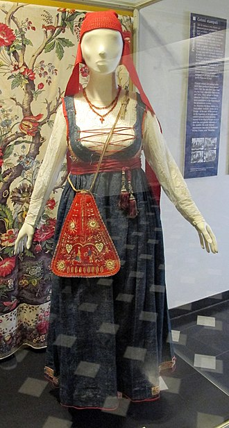 "Jeans - A traditional women's Genoese dress in ""blue jeans"" (1890s)"