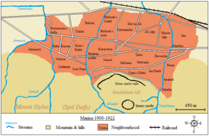Fire of Manisa - Map of the town and its neighborhoods before the fire.
