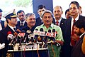Manohar Parrikar briefing the media after the inauguration of the National Command Control Communication and Intelligence (NC3I) network at the Information Management and Analysis Centre (IMAC).jpg