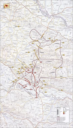 Operation Swath-10 - Map showing the fighting in western Slavonia, September 1991 – January 1992; Operation Swath-10 is depicted in the bulge (salient) near the top of the map; Operation Papuk-91, a follow-up to Operation Swath-10, is depicted in the central portion of the map