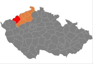 District location in the Ústí nad Labem Region within the Czech Republic