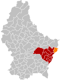 Map of Luxembourg with Mertert highlighted in orange, and the canton in dark red