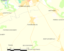Mapa obce Fontaine-Mâcon