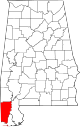 Map of Alabama highlighting Mobile County.svg