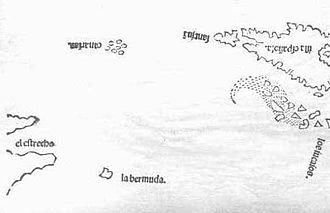 History of Bermuda - First map of the island of Bermuda in 1511, made by Peter Martyr d'Anghiera in his book Legatio Babylonica