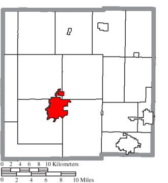 Bucyrus, Ohio - Image: Map of Crawford County Ohio Highlighting Bucyrus City