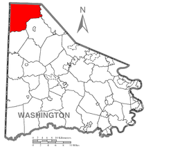 Location of Hanover Township in Washington County