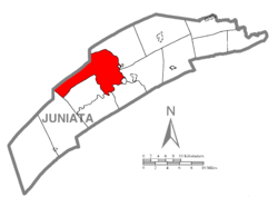 Map of Juniata County, Pennsylvania highlighting Milford Township