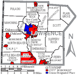 Lawrence County, Pennsylvania - Map of Lawrence County, Pennsylvania with Municipal Labels showing Cities and Boroughs (red), Townships (white), and Census-designated places (blue).