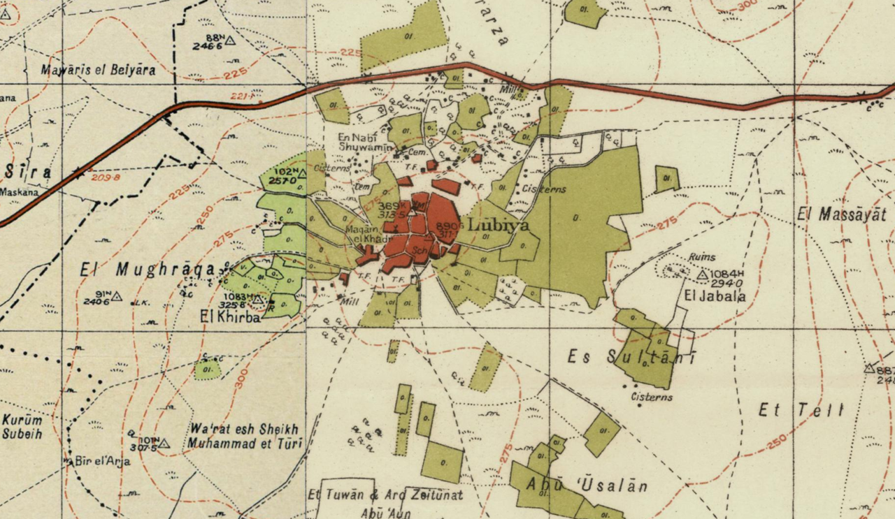 Map of Lubya, Palestine, 1 to 20,000, 1940s.png