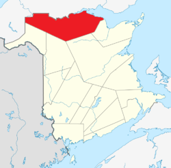 Map of New Brunswick highlighting Restigouche County.png