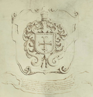 Map of Rensselaerswyck - Center shield and scroll