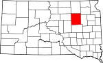 State map highlighting Spink County