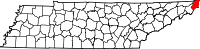 Map of Tennessee highlighting Johnson County