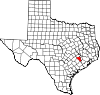State map highlighting Austin County