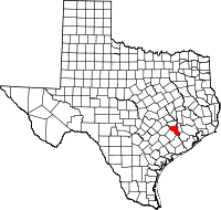 Map of Texas highlighting Austin County