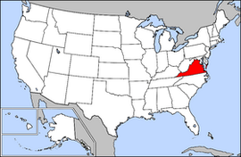 Map of the United States with Virginia highlighted
