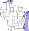 State map highlighting Milwaukee County