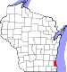 Map of Wisconsin highlighting Milwaukee County