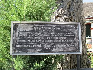 Maple Leaf Forever Park - Plaque erected by the Orange Lodge in 1958 supporting the legend
